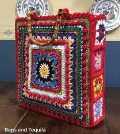 Crochet Stitches, Knit Crochet, Crochet Patterns, Pizza Blanket, Granny Square Bag, Creative Knitting, Crochet Instructions, Crochet Purses, Yarn Needle