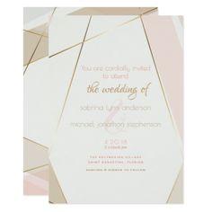 Contemporary Modern Geometric Stripes Blush Sand Card - wedding invitations cards custom invitation card design marriage party