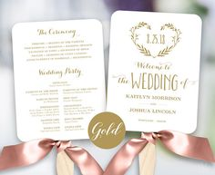 Gold Wedding Program Template Printable Wedding Fan Fan
