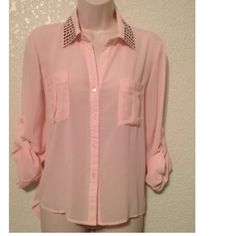 "Spotted while shopping on Poshmark: ""GORGEOUS PEACH/BLUSH  BLOUSE W/ STUDDED COLLAR!""! #poshmark #fashion #shopping #style #Tops"