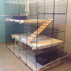 Our new rabbit condo. Spruce and spruce tongue and groove paneling for floors. Cavy Cage, Cage Hamster, Pet Cage, Indoor Rabbit House, Indoor Rabbit Cage, House Rabbit, Diy Bunny Cage, Bunny Cages, Rabbit Cages