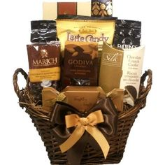 Delight Expressions™ Coffee and Chocolate Lovers Gourmet Food Gift Basket – A Holiday Thanksgiving Gift Basket Idea! | Coffee Tea Gift Baske...
