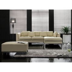 Velago Oslo Modern Leather Sectional Sofa with Ottoman #leathersectionalsofas