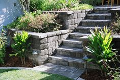 The 2 Minute Gardener: Photo - Country Manor Retaining Wall with Paver Stairs  http://2minutegardener.blogspot.com/2011/04/photo-country-manor-retaining-wall-with.html