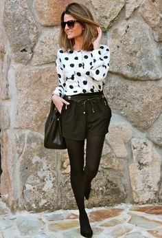 @roressclothes closet ideas #women fashion Trendy Polka Dot Outfit Idea