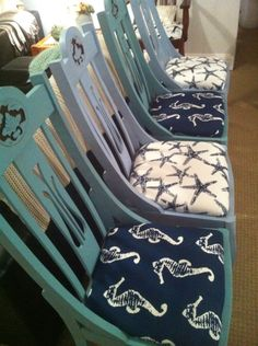 Coastal dining chairs I just finished reupholstering