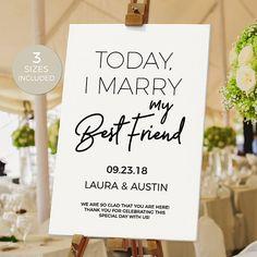 Wedding Signs - Today I Marry My Best Friend Wedding Signs - Today I Marry My Best Friend Fall Wedding, Diy Wedding, Wedding Favors, Rustic Wedding, Dream Wedding, Wedding Decorations, Cabin Wedding, Elope Wedding, Wedding Dress