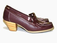 Vintage 60s 70s CORELLI Oxblood Leather Stacked by SALLIEandJUDY, $36.00