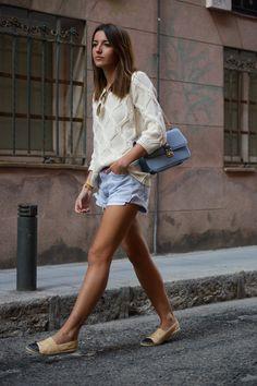 2014 sweater: Buylevard/ shorts: Levi´s vintage  espadrilles: Chanel / bag: Valentino
