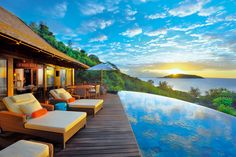 Heavenly Resort Architecture In The Middle Of Panoramic Views with heavenly quality pic : Aweome Scenic View Seen From Deck Of Ephelia Constance Resort With Infinity Pool In Front Of It As Beautiful Image Idea Seychelles Resorts, Les Seychelles, Seychelles Islands, Seychelles Africa, Seychelles Beach, Mauritius Hotels, Spa Villa, Dream Vacations, Vacation Spots