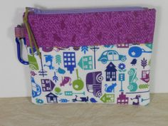 iPhone Bag zippered Pouch Purple Blue Lime by LakesideQuiltsMaine, $8.00