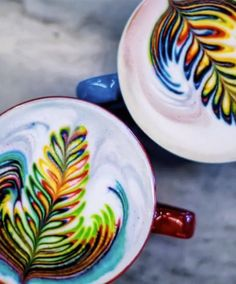 Rainbow coffee art trend is mesmerising - Yahoo7