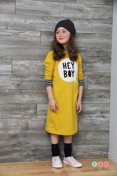 Fun, yellow t-shirt dress
