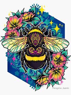 """Bumblebee "" Sticker by retkikosmos Kunst Tattoos, Tattoo Drawings, Art Drawings, Fantasy Kunst, Fantasy Art, Bee Art, Cute Tattoos, Tatoos, Art Pictures"