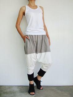 a236e6ee9dadf NO.90 Grey-White-Black Cotton-Blend Color Block Casual Dance Harem Pants  Stylish Pocket Drop-Crotch Trousers