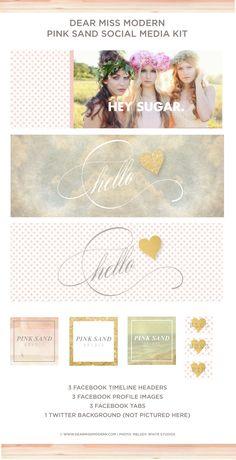 Pink Sand Social Media Kit includes: 3 Facebook Timeline Headers, 3 Profile Images, 3 Facebook Tabs, 1 Twitter Background. Dear Miss Modern Design Shop.