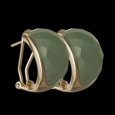 Brinco folheado rose oval com quartzo verde