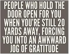 """An awkward jog of gratitude..."" LOL"