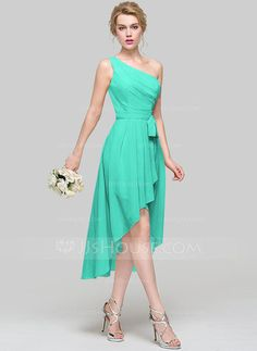 A-Line/Princess One-Shoulder Asymmetrical Ruffle Bow(s) Cascading Ruffles Zipper Up Regular Straps Sleeveless No Champagne Spring Summer Fall General Plus Chiffon Height:5.7ft Bust:33in Waist:24in Hips:34in US 2 / UK 6 / EU 32 Bridesmaid Dress