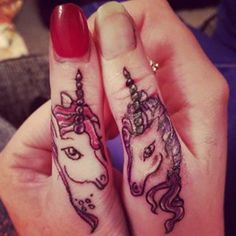 Two thumbs up for these matching beauties: | 20 Magical Unicorn Tattoos