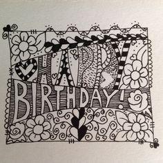 Happy Birthday Zentangle doodle