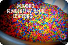 Magic Rainbow Rice Letters... saw this and immediately had to do it with Matthew! (Hint: shaking a bag of rice takes a lot of room  and energy for a 4-year-old!)