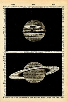 Vintage Dictionary Print Planets Antique Book Print - Outer Space Night Sky Art - Natural History Print