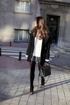 mini skirt, white sweater, black pea coat, leopard heels
