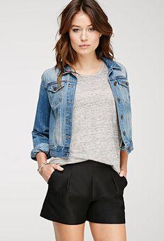 Textured Woven Shorts | LOVE21 - 2000080597