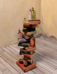 DH Miniature 1 12 Large Tall Stack of Books with Potions Witch Wizard OOAK IGMA | eBay