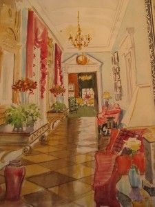 Mita Corsini Bland watercolor of a front hall designed by Carleton Varney in Dallas. Hall was originally decorated by Dorothy Draper.