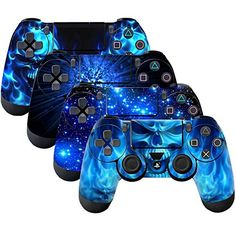 SubClap 4 Packs Controller Skin, Vinyl Decal Sticker Cover for Sony PlayStation 4 DualShock 4 Wireless Controller (Shing Blue) Ps4 Controller Custom, Game Controller, Pc Gamer, Playstation, New Electronic Gadgets, Electronic Shop, Computer Gaming Room, Deco Cool, Video Games Xbox