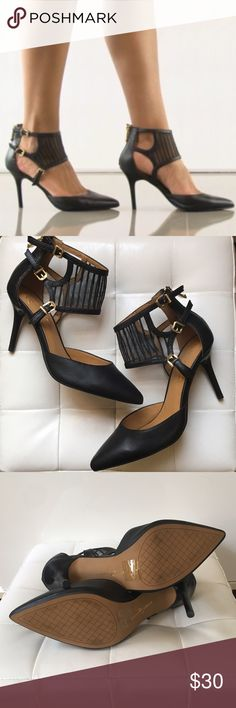 """Leather with Mesh Ankle Cuff heels """"Latrice"""". New. UNWORN. No box. Leather interior and exterior. 3"""" stiletto heel. Pointed toe. Mesh ankle cuff with 3 adjustable buckles. Back zip. Runs true to size. Elegant and edgy! Very expensive looking! LIKE LINGERIE FOR YOUR FEET! 😃 Report Signature Shoes Heels"""