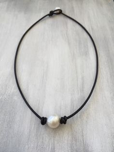 Leather pearl choker pearl choker necklace single pearl