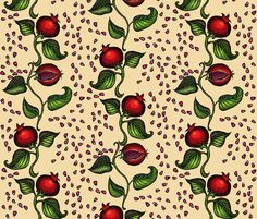 pomegranates fabric by annacole on Spoonflower - custom giftwrap. This would be lovely for Christmas!