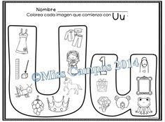 Letra U - Las Vocales - Spanish Alphabet - Letter U - Beginning Sounds - Silabas iniciales - FREE!