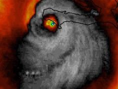 A creepy radar image of Hurricane Matthew resembles a grinning skull. The shot went viral after being noticed by a meteorologist.