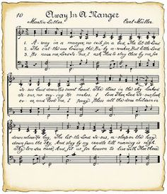VintageFeedsacks: Christmas sheet music, Away in a manger