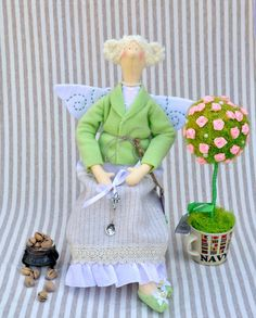 Tilda. Pistachio ice cream Fairy. Handmade interior doll. Christmas gift. Home decor.