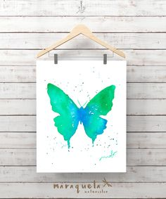 Green Blue BUTTERFLY Illustration Watercolor - Art , painting living- room, home decor, poster print wall room ideas gift baby, girl woman. MARIPOSA tonos azul y verde ilustracion ACUARELA. Decoración, lamina libélulas, pared, coleccion insecto, salon, regalo mujer, ideas pared