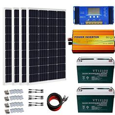 ECO-WORTHY About 500W Solar Panels with 1000W Pure Sine Wave Inverter and 200Ah Battery Complete Kit for RV, Boat, Off-Grid Battery Systems Off Grid Batteries, Sine Wave, Solar Panels, Solar Power, Rv, Boat, Sun Panels, Motorhome, Dinghy