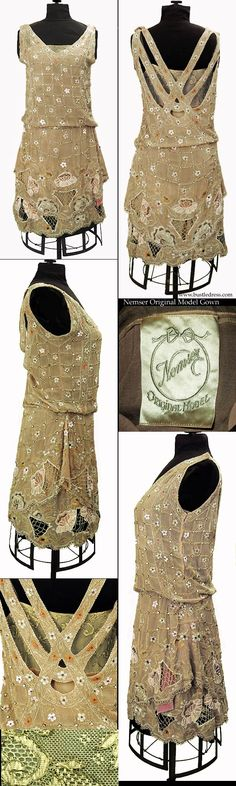 1920-1925 NEMSER ORIGINAL MODEL Evening Gown Cubist Style Rhinestone Beaded Silk