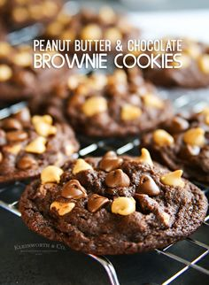 Soft batch style Peanut Butter Chocolate Brownie Cookies are the most delicious no-chill chocolate cookies around. Perfect for an after school treat.