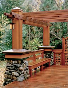 From LandmarkServices.com, the perfect deck design to complement this homeowner's Arts & Crafts Style home.