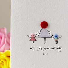 Personalised 'Button Mummy' Handmade Card - view all mother's day gifts Easy Mother's Day Crafts, Kids Crafts, Mothers Day Crafts For Kids, Birthday Cards For Mother, Handmade Birthday Cards, Greeting Cards Handmade, Birthday Card For Grandma, Mom Cards, Mothers Day Cards