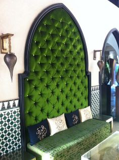 Beautiful green headboard #bedroomdecor Bedroom #colorscheme --makes me thing of the blue persian prayer rug