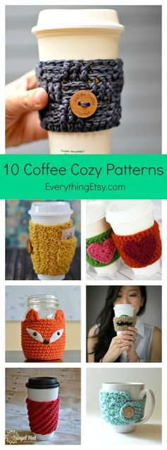 10 Free Crochet Patterns for a Coffee Cozy…or Two! 10 Free Coffee Cozy Crochet Patterns Looking for a quick DIY gift idea? Want to use up some of your pretty yarn scraps? These free coffee cozy crochet patterns are exactly what you need. You can mak Beau Crochet, Crochet Coffee Cozy, Crochet Cozy, Free Crochet, Crochet Ideas, Cozy Coffee, Quick Crochet Gifts, Crochet Things, Crochet Craft Fair