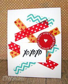 DeNami Washi Tape Valentine XOXO card by @Dana Seymour