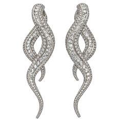 Contemporary Scrolling Diamond Drop Earrings