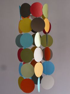 Multicolor Hanging Paper Mobile  Made To Order by teetu on Etsy, $22.00